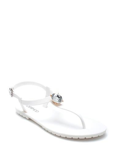 Derimod Kadın Taş Detaylı Sandalet Beyaz